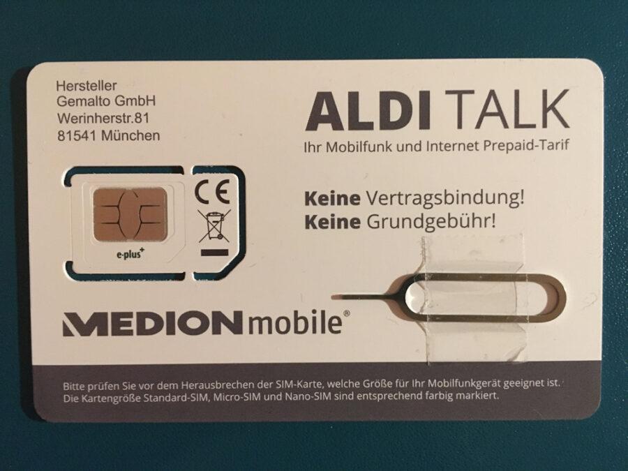 SIM Card Aldi Talk mit Öffner fürs iPhone